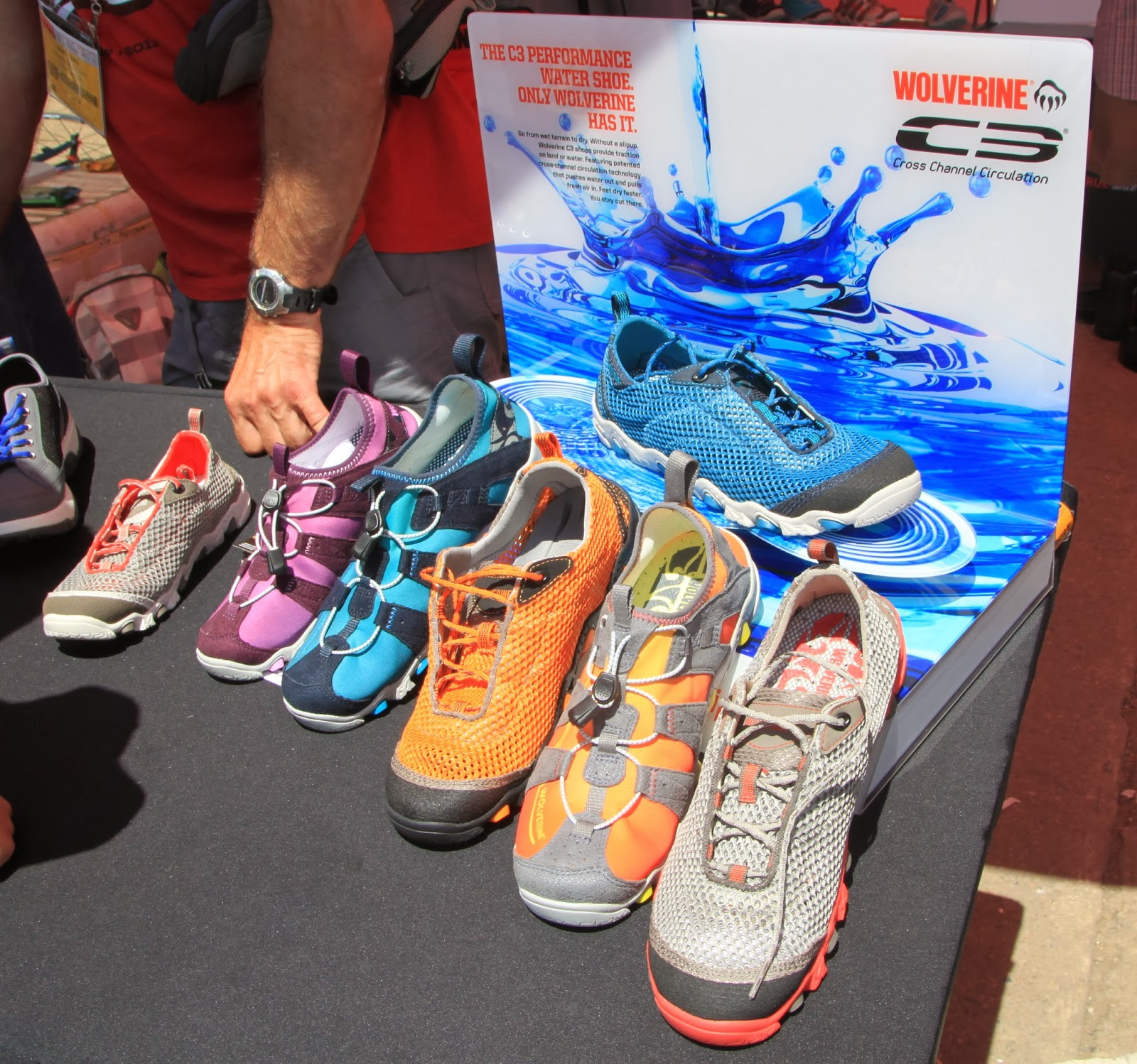 434be92634 Demo Day-display of new water + multi-sport kicks with Cross Channel  Circulation®-l-r=Creek Bed (unlined w/ quick dry breathable mesh upper,  recessed laces ...