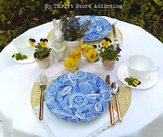 Spring flowers blue and white tablescape