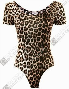 80s Style Leopard Print Leotard