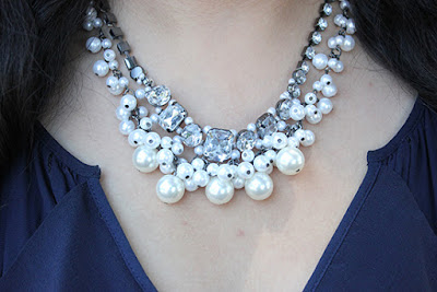 Forever 21 Pearl and Faux Diamond Statement Necklace