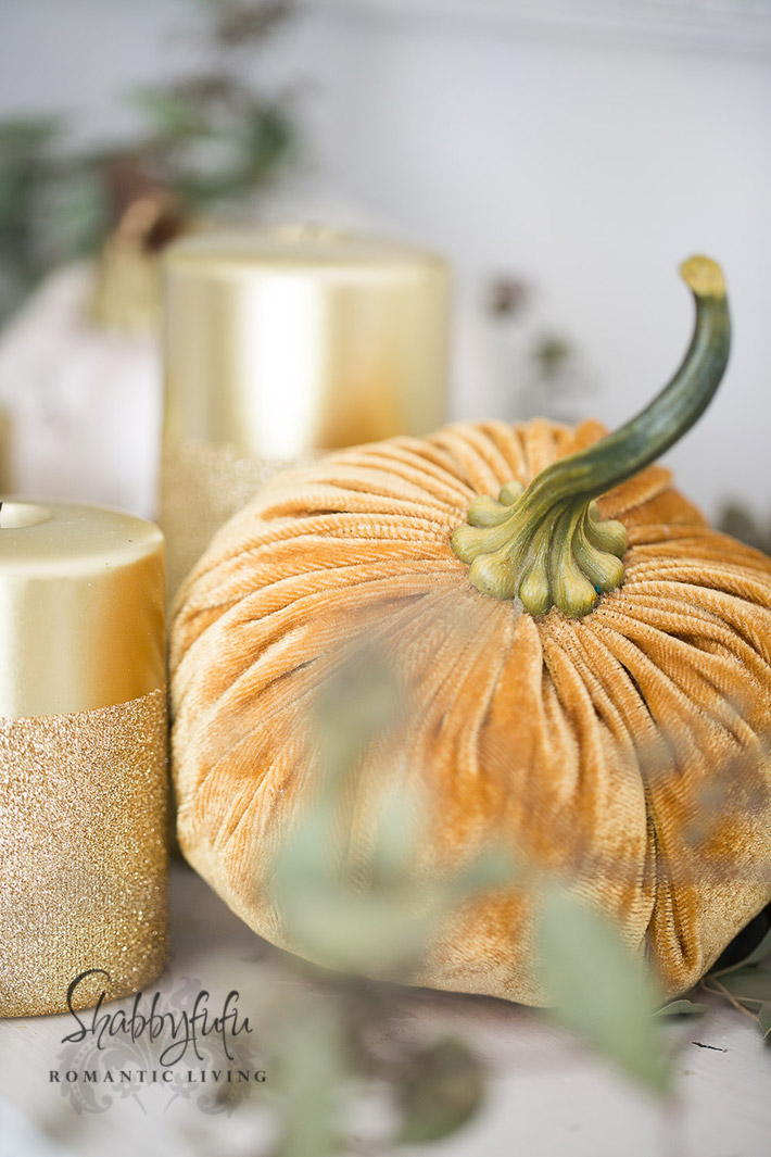 gold velvet pumpkin
