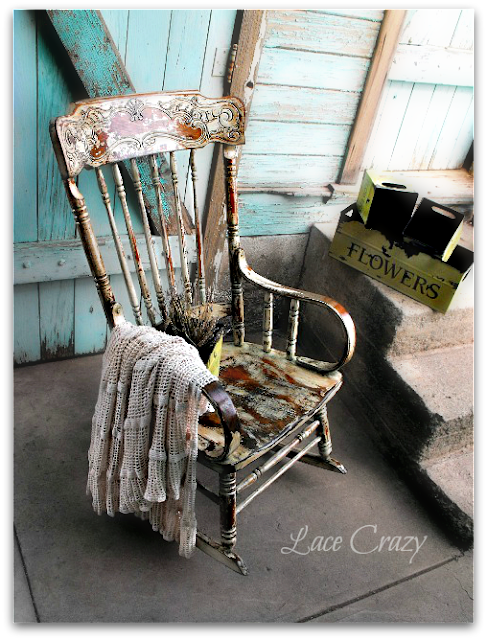 Lace Crazy Distressed Chippy Rocking Chair Redo