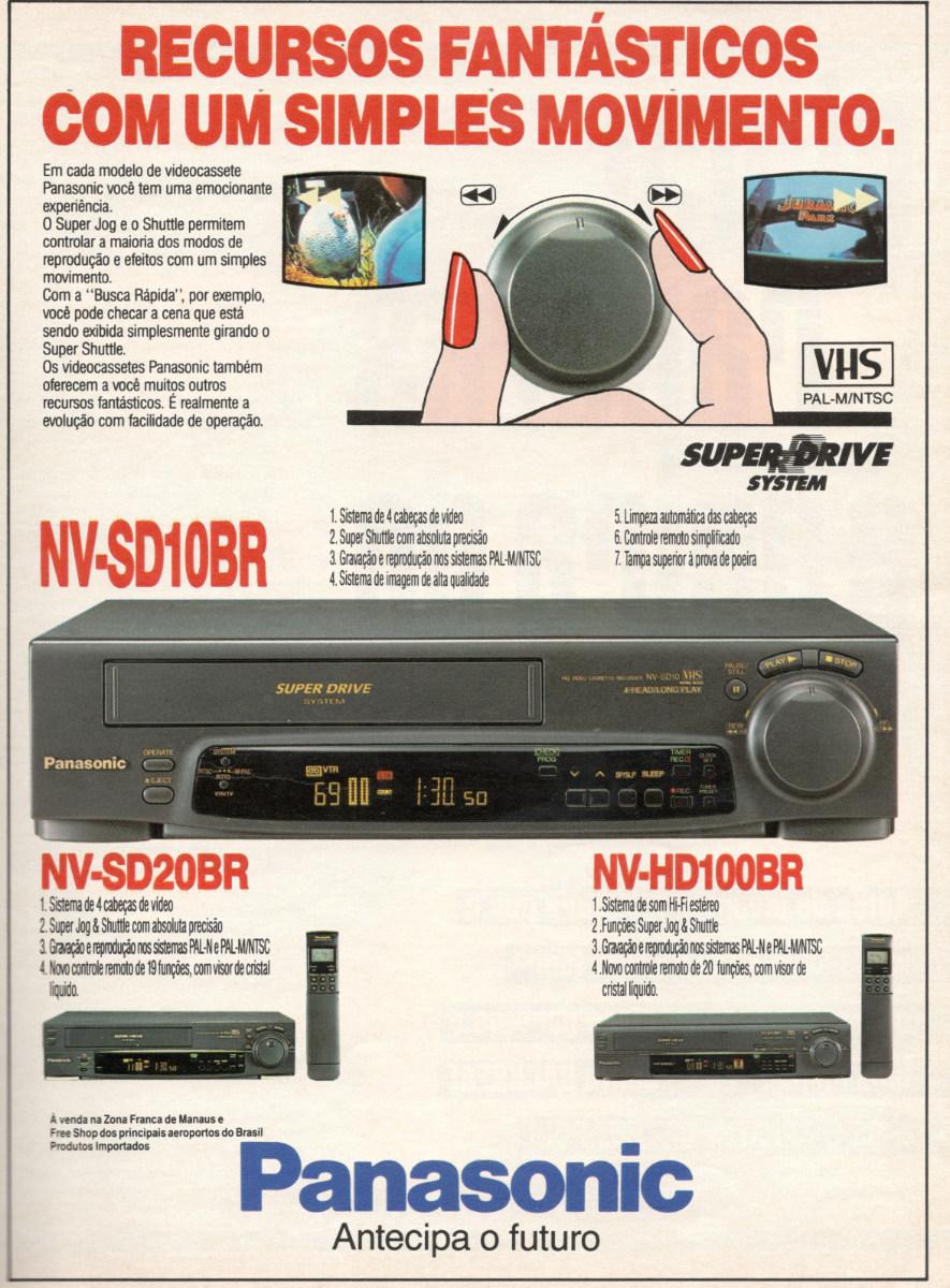 Propaganda antiga da Panasonic apresentando seu aparelho de videocassete em 1994 com várias inovações