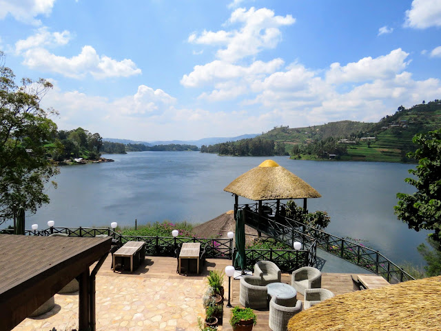 View of Lake Bunyonyi from Birdnest @ Bunyonyi lodge in Uganda