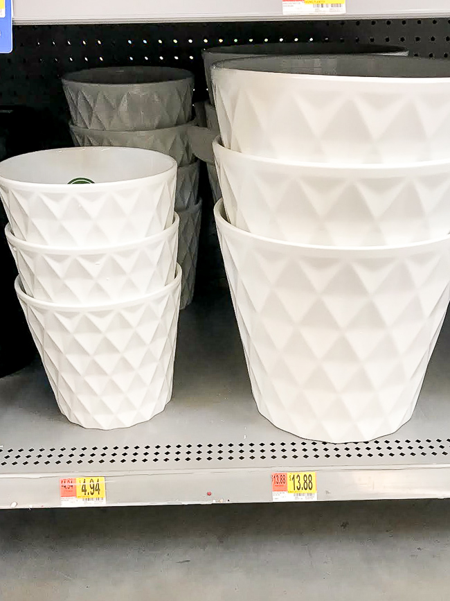 White pots from walmart