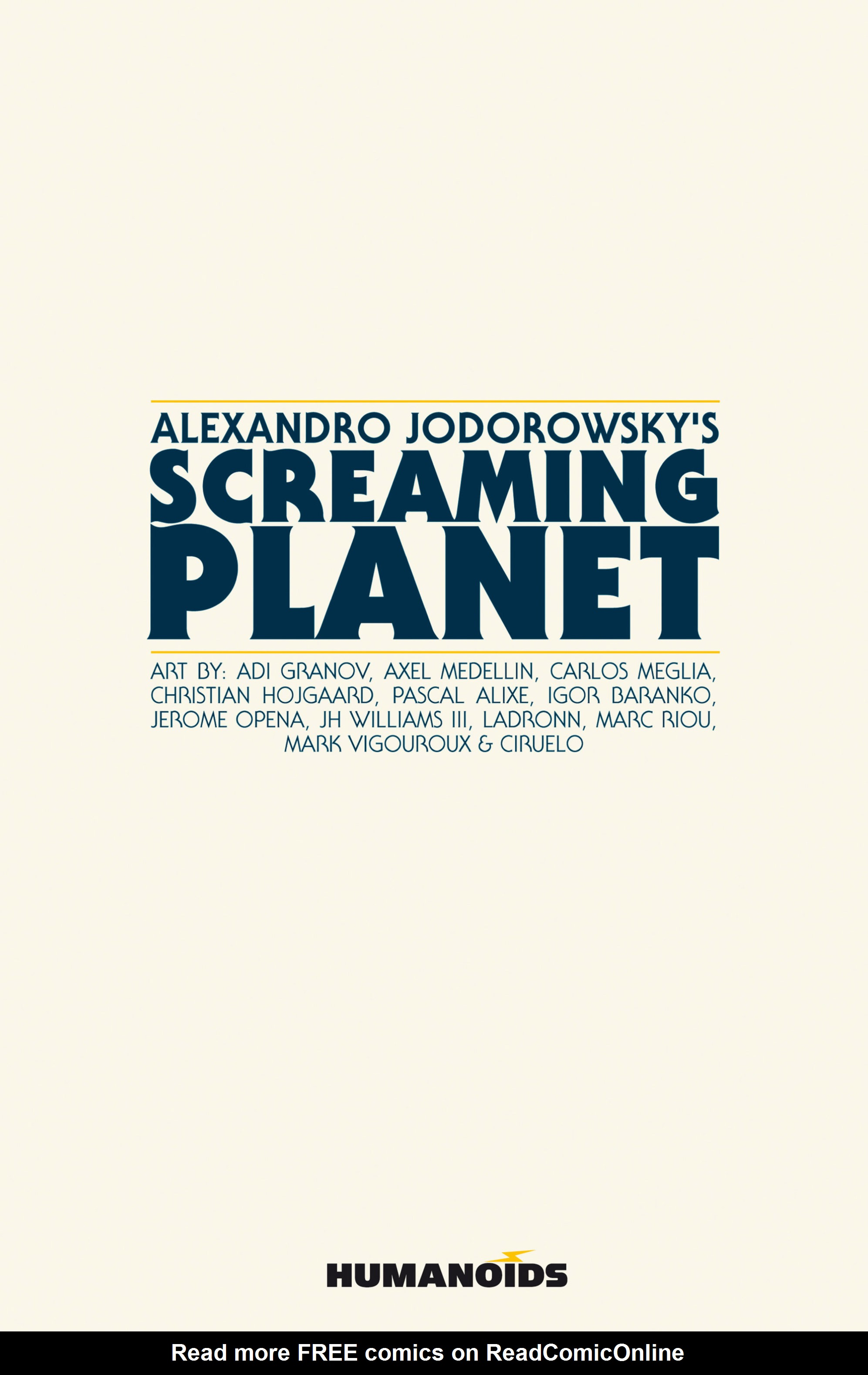 Read online Alejandro Jodorowsky's Screaming Planet comic -  Issue #1 - 2