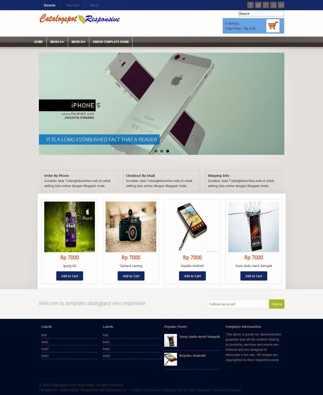 3 tema toko online rupiah dengan fitur responsive untuk blogspot, Invoice examples