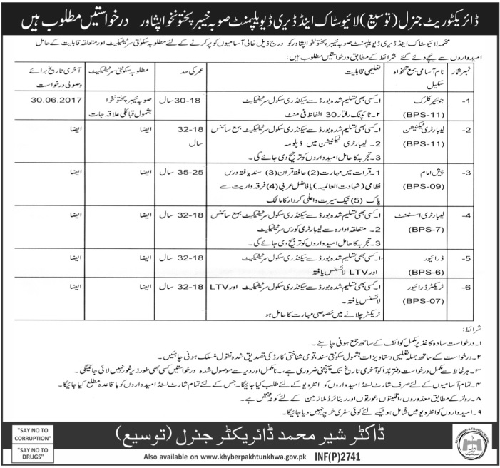 Jobs in Livestock and Dairy Development Department Peshawar 7 June 2017