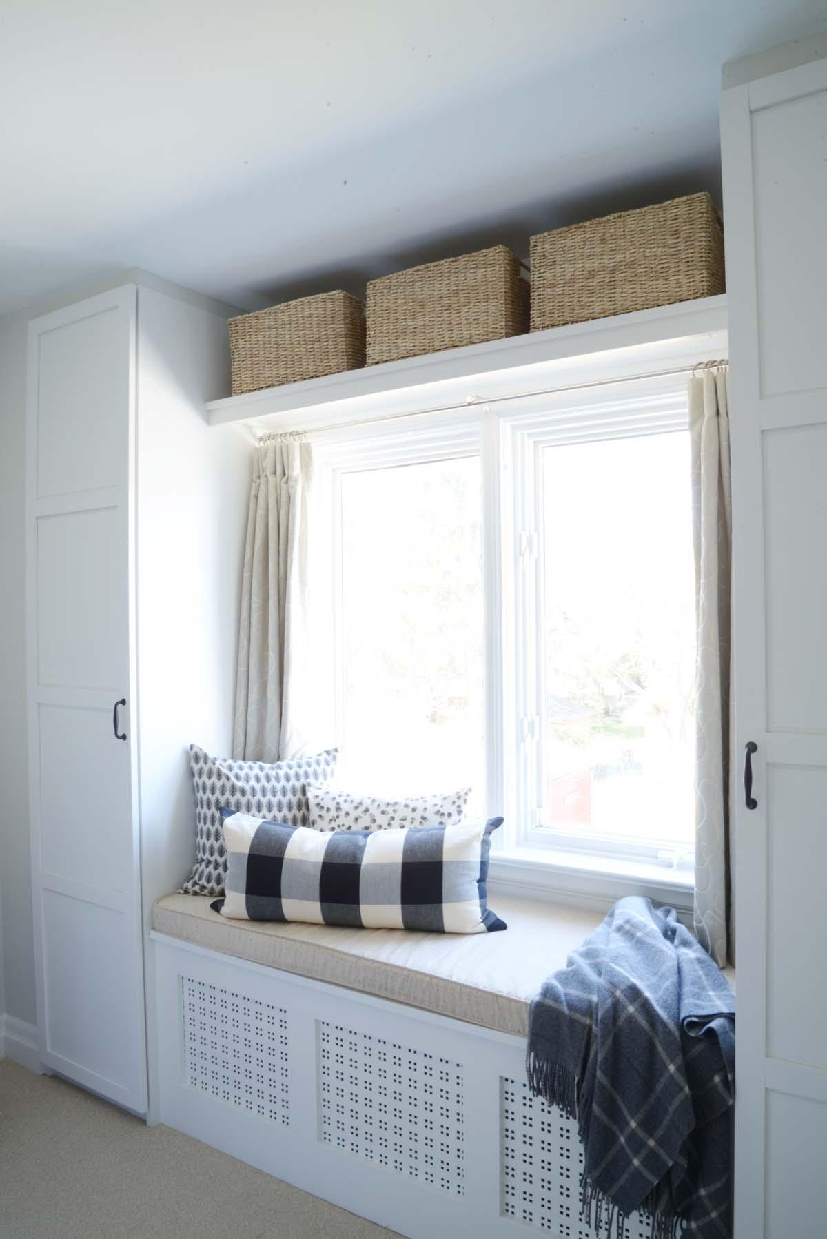 built in window seat, hidden radiator, ikea closet built in