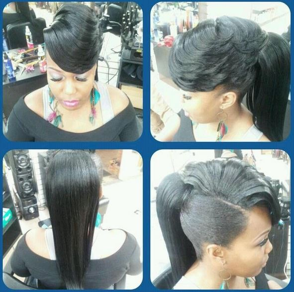 weave ponytail with bangs hairstyles