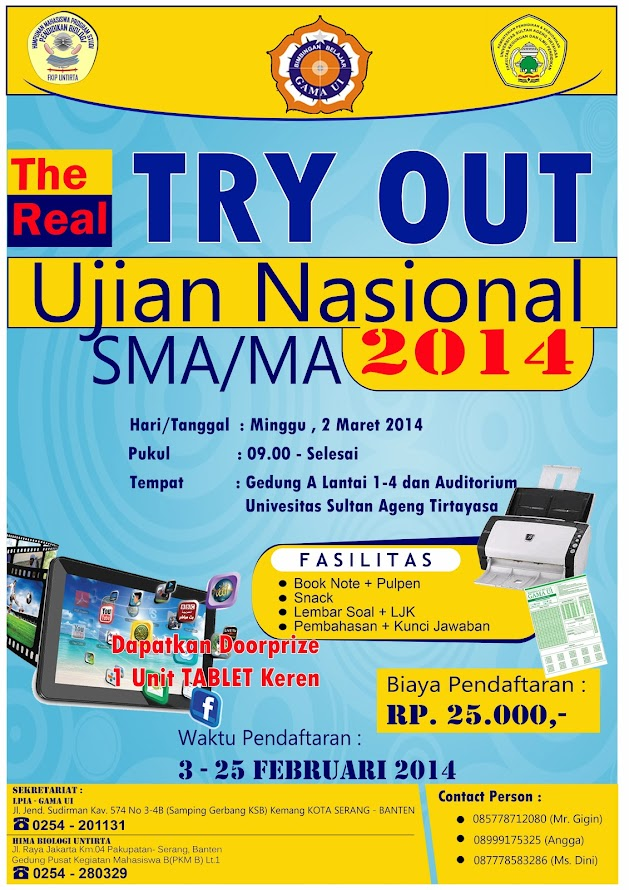 Try Out Ujian Nasional SMA / MA Kota Serang Tahun 2014