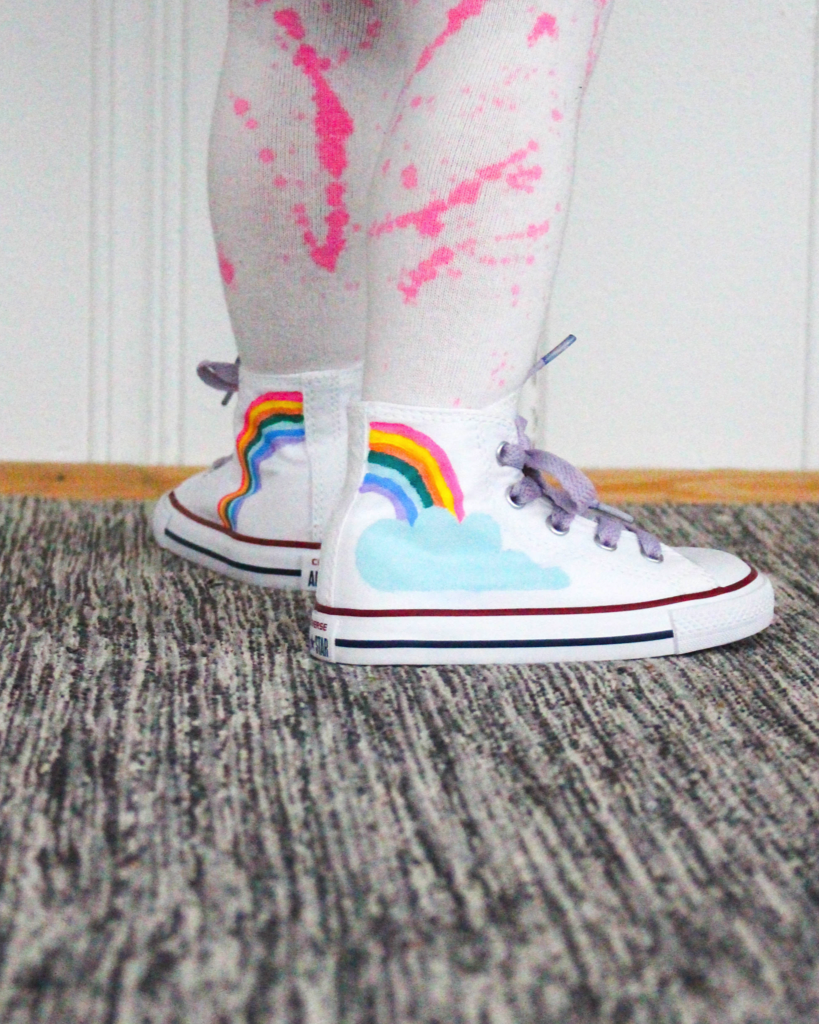 These DIY Boden inspired rainbow shoes are so cool! Perfect for celebrating spring!