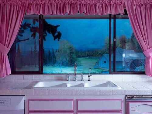 "Kitchen view at ""night"""