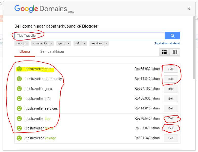 Pilih Telusuri Maka Yang Ditampilkan Adalah Tampilan Pembilian Domain Atau Membeli Nama Domain Dari Alamat Blog Kita Menjadi Com Guide Dan Lain Lain