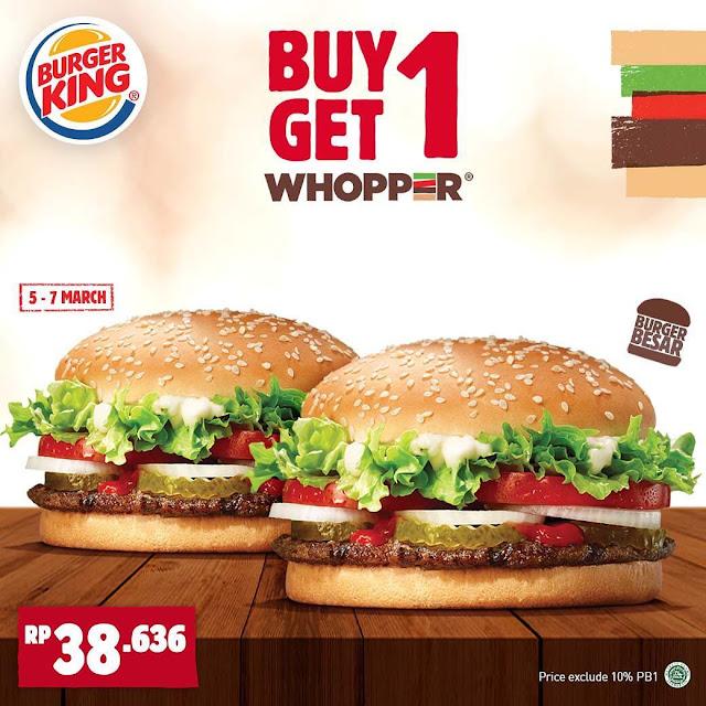 #BurgerKing - #Promo Buy 1 Get 1 Free Whopper (s.d 07 Maret 2019)