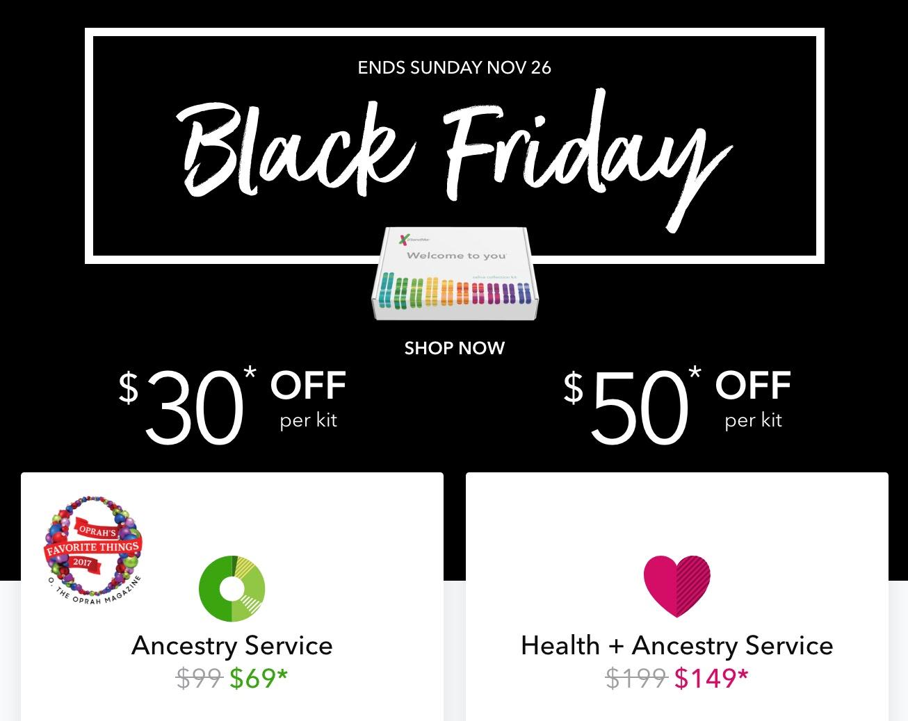 your genetic genealogist black friday weekend dna kit sales. Black Bedroom Furniture Sets. Home Design Ideas