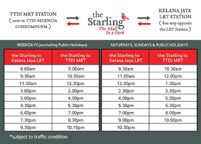 Damansara Uptown The Starling Free Shuttle Bus Schedule