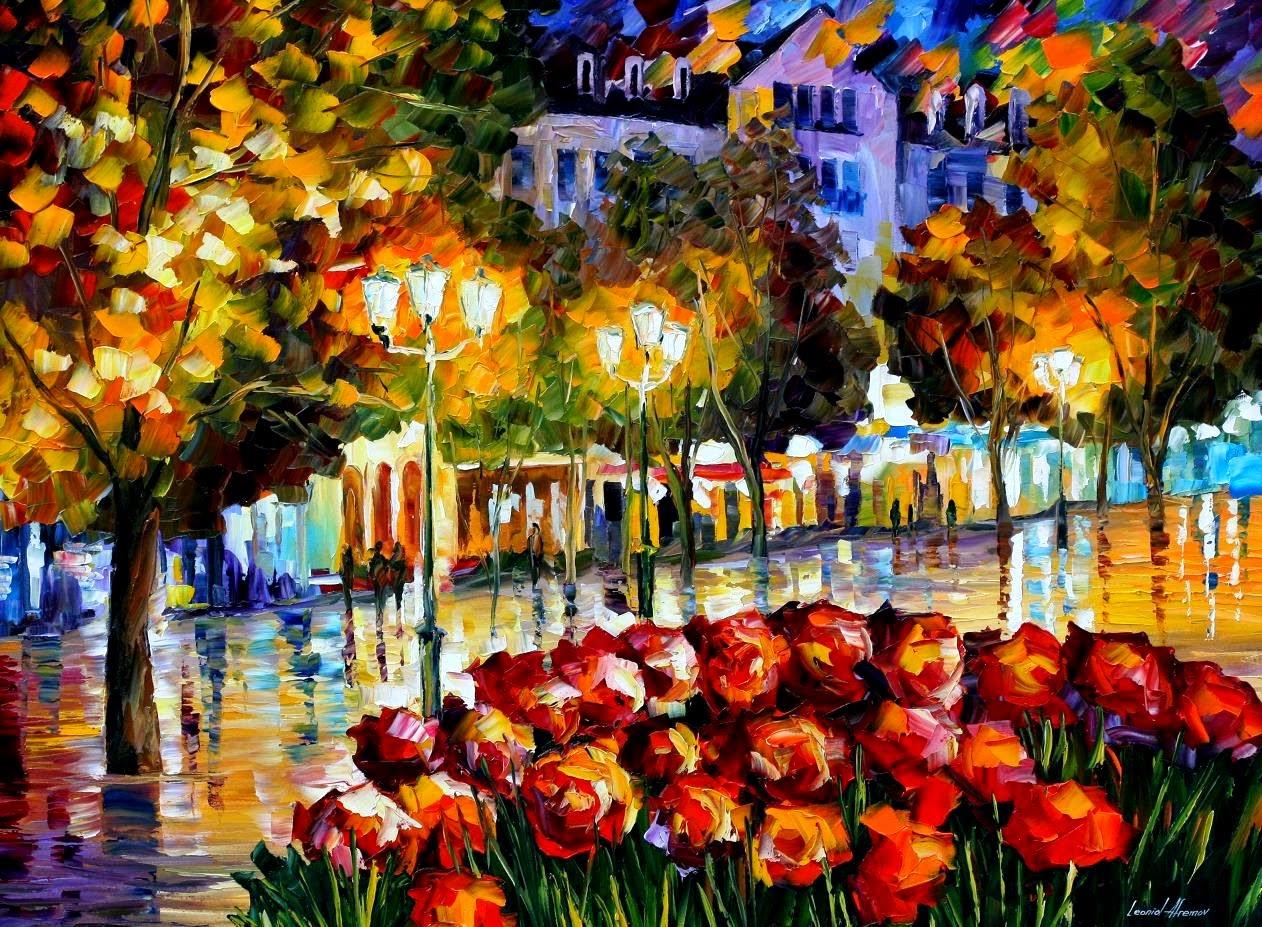 As Flores de Luxembeourg - Pinturas de Leonid Afremov | O mestres da  espátula