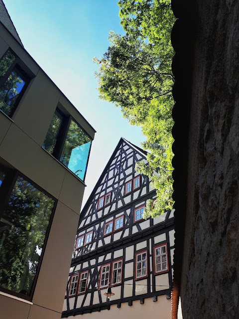 modern and medieval architecture side by side in Erfurt