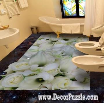 3d bathroom floor art murals designs, self-leveling floors for bathroom flooring ideas