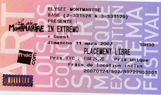 Billet du concert d'In Extremo à l'Elysée Montmartre (Paris) du 11/03/2007