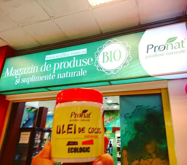 Ce ulei folosim la masaj in Timisoara. Uleiul de cocos BIO, extravirgin de la Pronat. Magazin Bega Shopping Center Timisoara