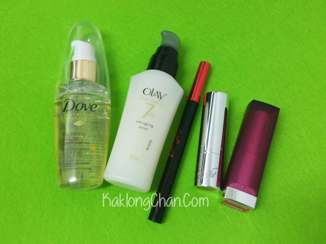 lipstick, eyeliner, olay, dove