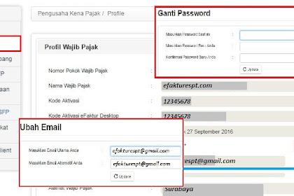 e-Nofa Online Direktorat Jenderal Pajak : Ganti Password dan Email
