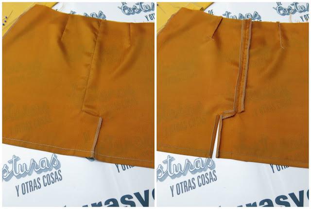 como forrar una falda con abertura lateral oculta