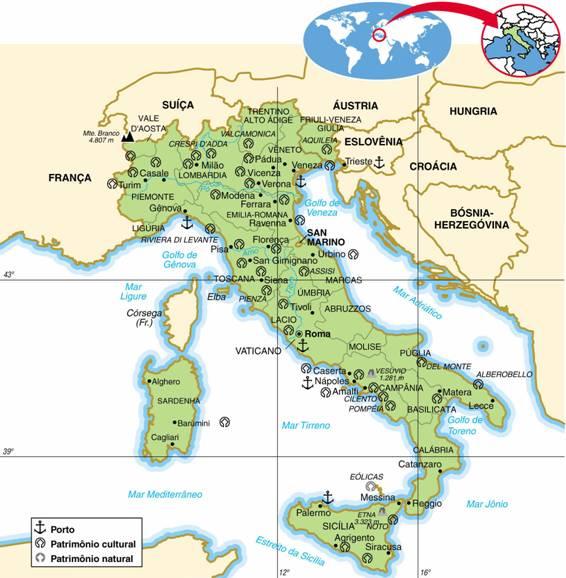 ITÁLIA, ASPECTOS GEOGRÁFICOS E SOCIOECONÔMICOS DA ITÁLIA