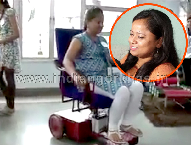 Sushila Sonar an Indian Gorkha with her wheelchair