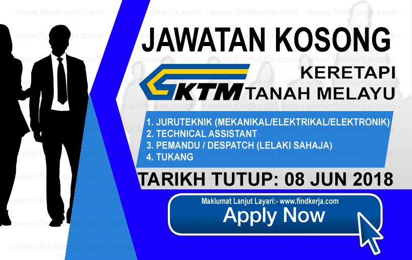 Jawatan Kerja Kosong KTMB - Keretapi Tanah Melayu Berhad logo www.findkerja.com www.ohjob.info jun 2018