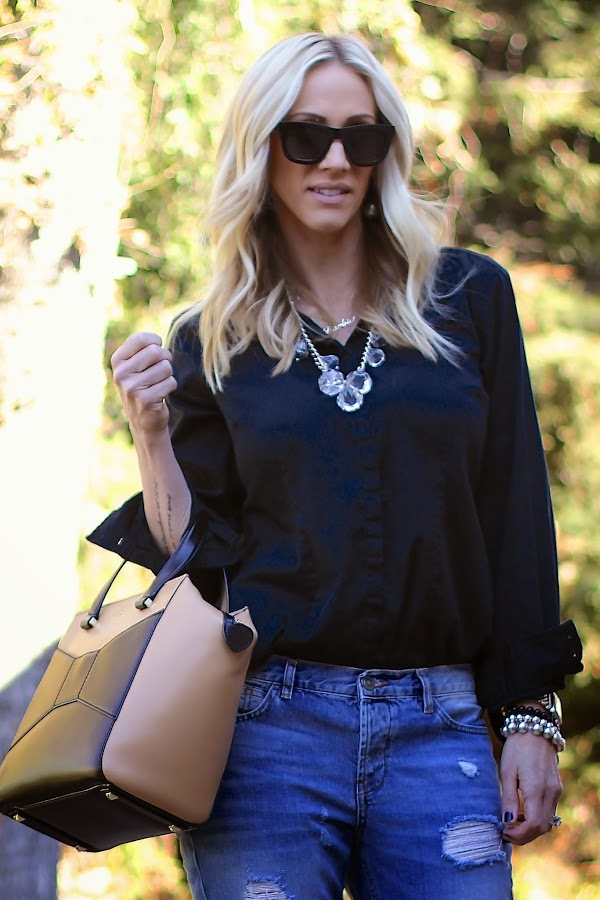 classic black button up shirt