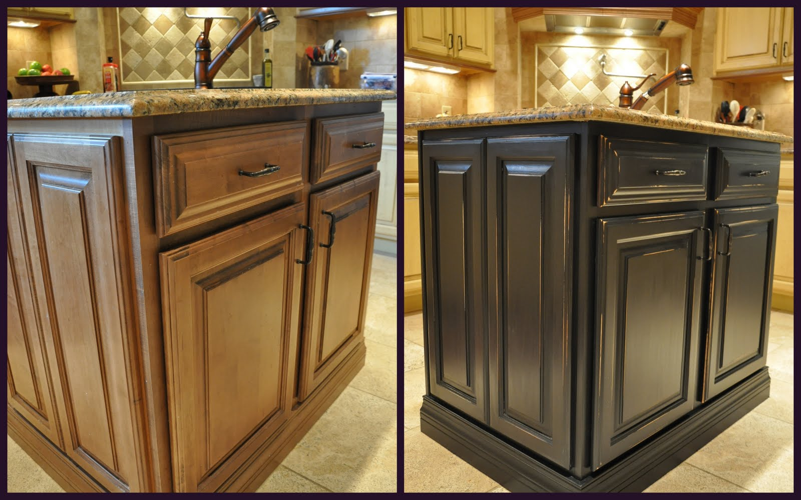 painted kitchen island revea distressed kitchen cabinets Painted Kitchen Island Reveal