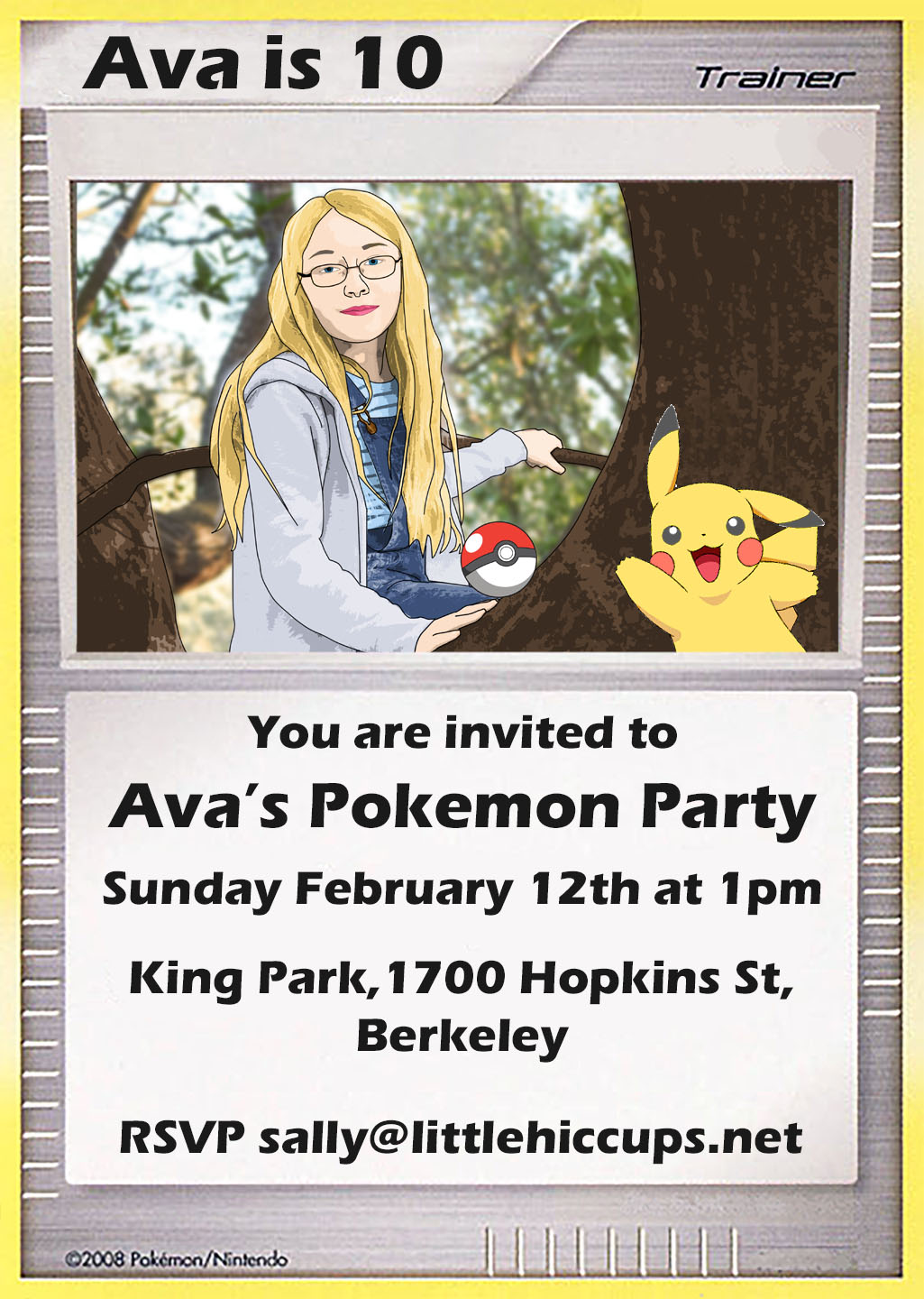 little hiccups pokemon party invitations
