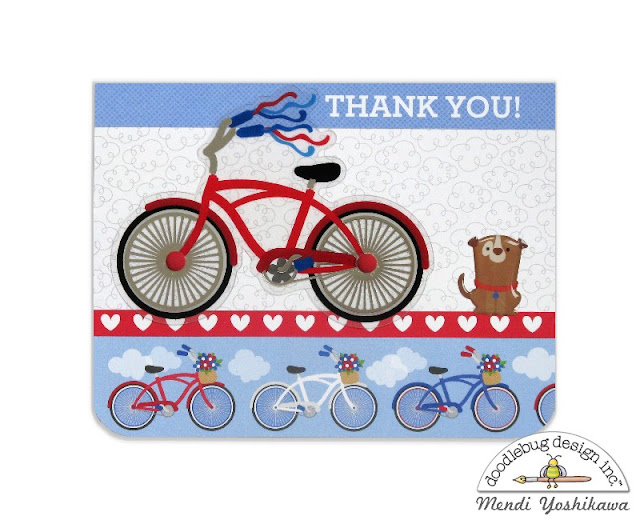 Doodlebug Yankee Doodle Bicycle Thank You Card by Mendi Yoshikawa