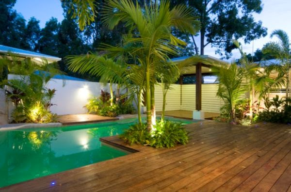 backyard design ideas;  backyard pool; backyard landscaping; backyard deck