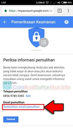contoh alamat email pemulihan