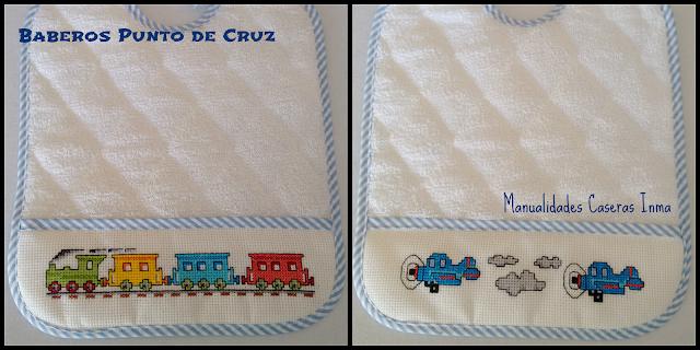 Manualidades Caseras fáciles Inma Baberos Punto de Cruz azules