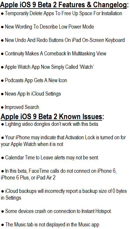 iOS 9 Beta 2 Features (13A4280e)