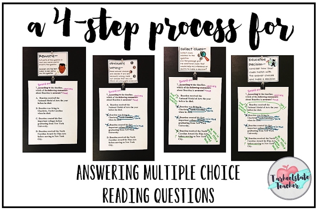"If your students think that answering multiple choice questions is all about fancy bubbling, find out about the 4 step multiple choice test taking strategy I teach my students to go through when answering reading questions. 3rd, 4th, 5th, and even 6th grade students need concrete strategies for navigating the confusing, stressful challenges of End of Grade testing. This easy to implement strategy will give them just what they need to develop confidence and a ""game plan"" for taking their test!"