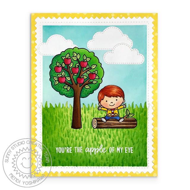 Sunny Studio Stamps: Seasonal Trees Apple Of My Eye Card by Mendi Yoshikawa