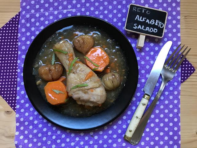 pollo guisado con castañas y boniato receta