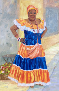 art in Cuba, orange satin, native dress