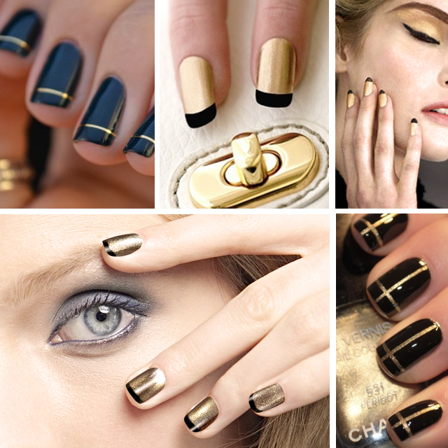 Nail Art Inspiration : Black & Gold Manicures