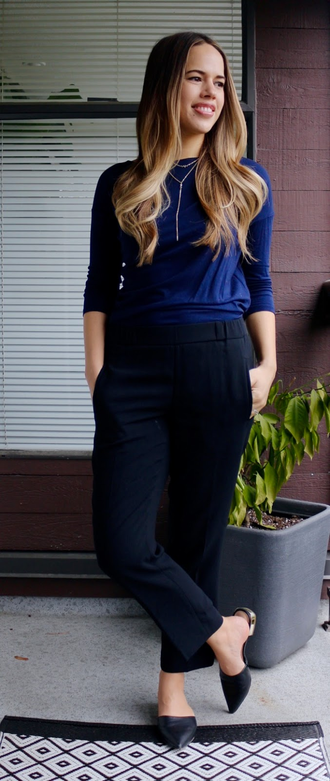 Jules in Flats - Navy Top with Aritzia Dress Pants
