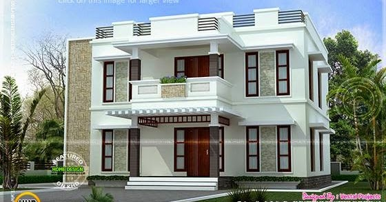 beautiful home design flat roof style - kerala home design and