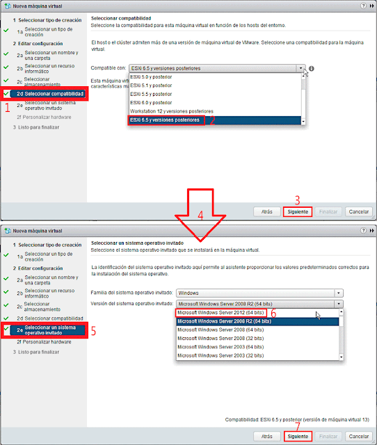 VMware 6.5.0: Crear una nueva máquina virtual - Seleccionar un sistema operativo invitado