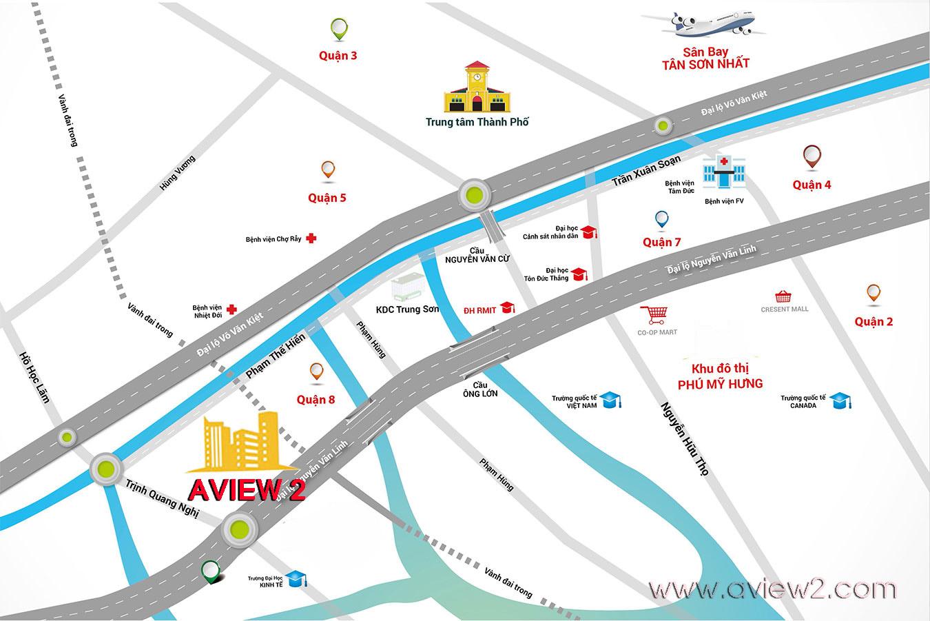 Bản đồ vị trí Căn hộ Aview 2
