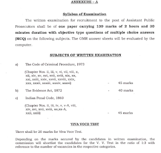 Odisha Assistant Public Prosecutor Exam Pattern and Syllabus
